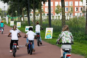 Fietsende oogtest in Rotterdam