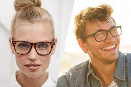 lachende man en vrouw met bril op